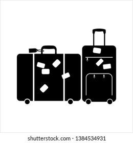 Suitcase Icon Design, Silhouette Vector Art Illustration