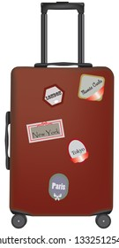 Suitcase with labels and indication of cities