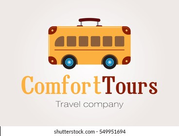 Suitcase on the wheels. Vector tourist bus logo. Traveling icon isolated