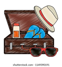 suitcase with summer hat and sunglasses