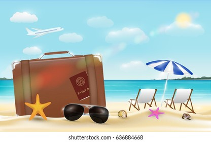 suitcase and sun glasses on sea beach