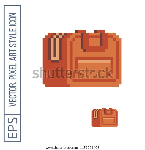 Suitcase Tools Pixel Art Icon Isolated Stock Vector (Royalty
