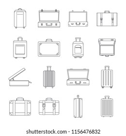 Suitcase travel luggage bag briefcase icons set. Outline illustration of 16 Suitcase travel luggage bag briefcase vector icons for web