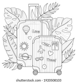 Suitcase with tropical leaves and stickers.Coloring book antistress for children and adults. Illustration isolated on white background.Zen-tangle style. Black and white illustration.Hand draw
