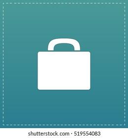 Suitcase. White flat icon with black stroke on blue background