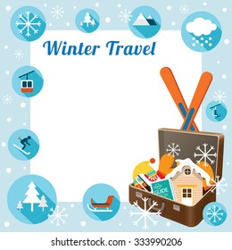 Suitcase with Winter Icons, Frame, Snow, Travel and Vacation