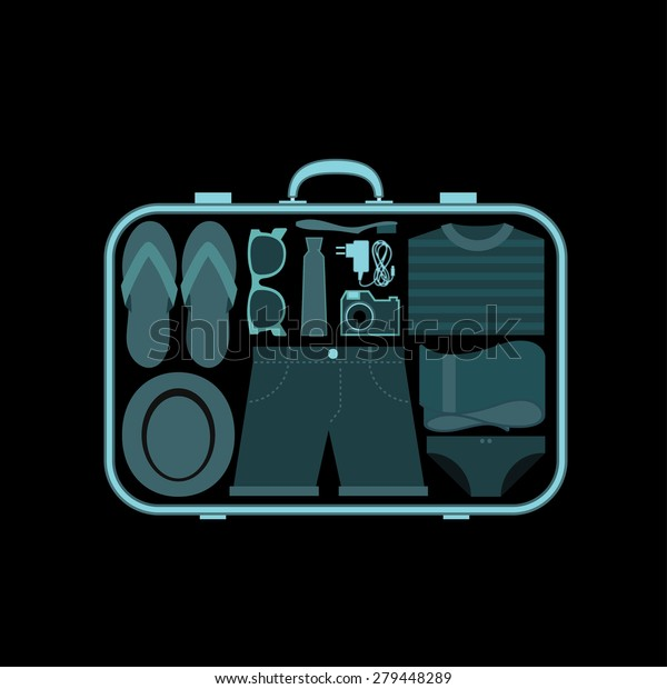 Suitcase Xray Airport Scanner Vector Illustration Stock Vector