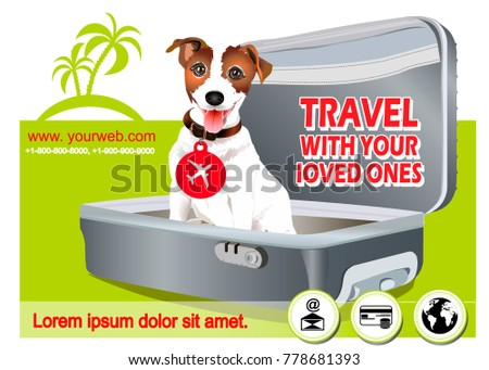 Suitcase Logo Travel On Sticker Poster Card Stock Vector