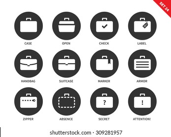 Suitcases and bags vector icons set. Business and management concept, cases for businessmen, labels, handbag, zipper, open and secret bag. Isolated on whithe background