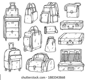 Suitcases, handbags, backpacks and travel bags. Big set of luggage, hand baggage for trip or journey. Hand drawn sketches on a white background. Vector illustration.