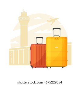 Suitcases with handles. Luggage on the background of the airport and the plane. The concept of travel.