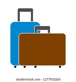 suitcases icon- travel suitcases isolated, tourism luggage illustration- Vector luggage