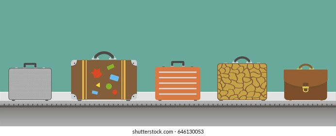 Suitcases or luggage with conveyor belt in the airport