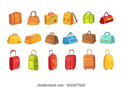 Suitcases And Other Luggage Bags Set Of Icons