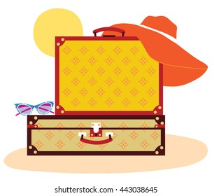 Suitcases with sun and glasses and hat on the sand. Vector illustration. summer vacation. Luggage on the beach under sun. Tourism poster.