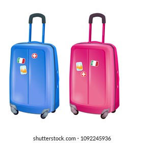 Suitcases traveler. The road, luggage, things for travel. Suitcases, bags. Pink and blue suitcases. Separated without background, on white background.