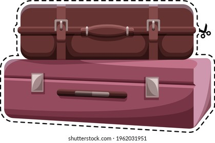 Suitcases. Vector image. Colored sticker. Two suitcases are on top of each other. Baggage.