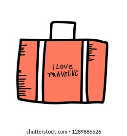 suitecase with I love traveling quote in doodle style. Hand drawn vector trip element isolated on white background. Luggage bag. Color illustration.