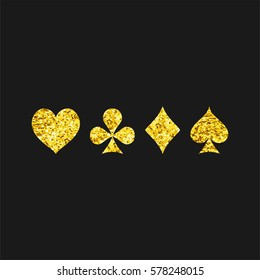 Suits with gold glitter on  black background