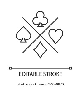 Suits of playing cards linear icon. Spade, clubs, heart, diamond. Thin line illustration. Casino contour symbol. Vector isolated outline drawing. Editable stroke