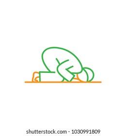 Sujud Muslim praying activity. Simple monoline icon style for muslim ramadan and eid al fitr celebration.