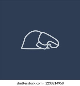 Sujud Posture icon. Trendy flat vector line Sujud Posture icon on dark blue background from Religion  collection.