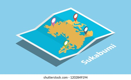 sukabumi indonesia city explore maps with isometric style and pin location tag on top vector illustration