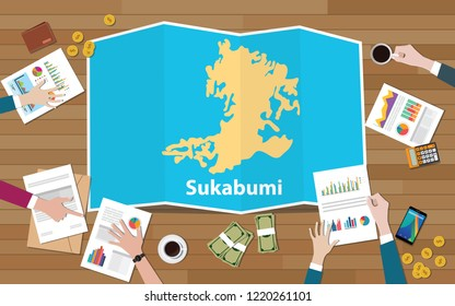 sukabumi indonesia west java city region economy growth with team discuss on fold maps view from top vector illustration