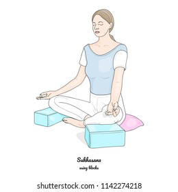 Sukhasana or Easy Pose with Blocks and a Pillow. Yoga Practice. Vector.
