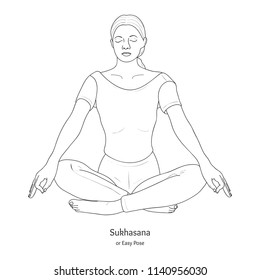 Easy Yoga Poses Stock Illustrations Images Vectors Shutterstock