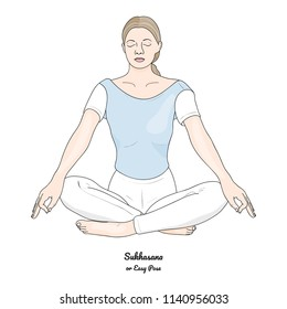 Sukhasana or Easy Pose with Gyan Mudra. Yoga Practice. Vector.
