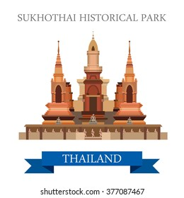 Sukhothai Historical Park in Thailand. Flat cartoon style historic sight showplace attraction web site vector illustration. World countries cities vacation travel sightseeing Asia collection.