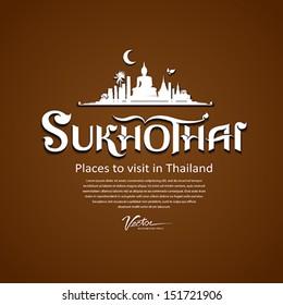Sukhothai Province message text design, vector illustration
