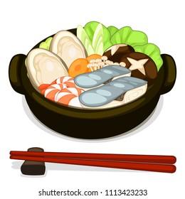 sukiyaki food (Japanese food) set. seafood sukiyaki.