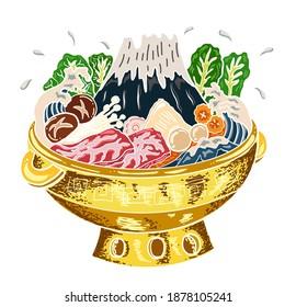 Sukiyaki recipe instant pot illustration.Chinese traditional food rich hot pot style.Shabu hand drawning for painting on restaurant.Wave on Fuji mountain on shabu hot pot.