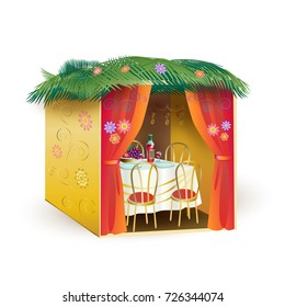 Sukkah for Sukkot Greeting card. Sukkah, lulav and etrog, apple, pomegranate, flowers, palm leaves frame. Israel Jewish Holiday Rosh hashanah, sukkot, symbols vector illustration