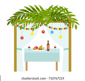 Sukkah for the Sukkot holiday. Jewish tent to celebrate. Isolated on white background. Vector illustration