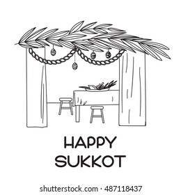 "Sukkah with table, food and Sukkot symbols. ""Happy Sukkot"" in Hebrew. Vector illustration"