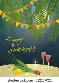 Sukkot Festival greeting card design vector template. Greeting text Happy Sukkot. Traditional Jewish Sukkot holiday four species of fruit & herbs in Sukkah on holiday eve. Layered, editable design.