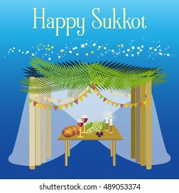 "Sukkot Festival greeting card design vector template. Greeting text ""Happy Sukkot"". Traditional Jewish Sukkot holiday decoration of Sukkah - the holiday hut, starry sky. Layered, editable."