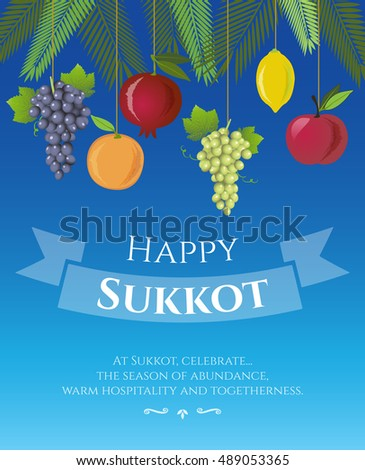 Sukkot festival greeting card design vector stock vector royalty sukkot festival greeting card design vector template greeting text happy sukkot traditional m4hsunfo
