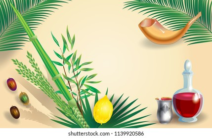 Sukkot Festival greeting card with traditional symbpls lulav, etrog, shofar, palm tree leaves frame. Trendy design Jewish Holiday Rosh Hashana, Shana Tova, Sukkot vector, Yom Kippur, Israel Jerusalem