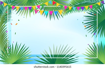 Sukkot festival invitation background, Tropical palm tree leafs sukkah frame, garland, confetti, decoration traditional four species, lulav, etrog. Jewish Holiday Rosh hashanah greeting poster, Vector