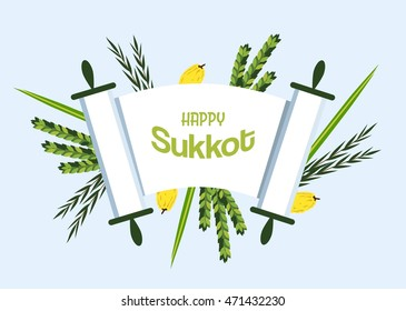 Sukkot - Jewish holiday. torah with Lulav (date palm) ,Etrog (citron) , Arava (willow) and Hadas (myrtle), Four species symbols