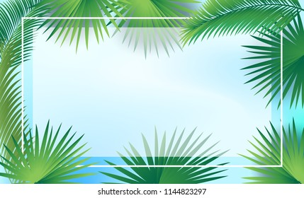 Sukkot palm tree leaves frame, date palm leafes border, blue sky background. Sukkah decoration, rosh hashanah, autumn jewish holiday greenary foliage decorative traditional design, vector Israel card