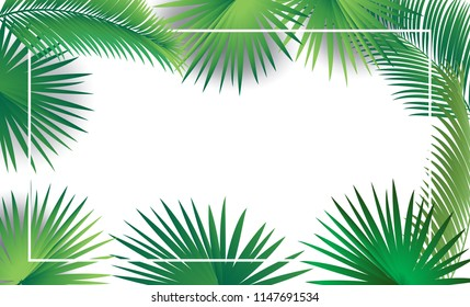 Sukkot and Rosh hashanah festival palm tree green leaves frame on white background. Rosh hashana, sukkot festival Israel Holiday decorative greenery, foliage leafs sukkah border. Vector tropical decor