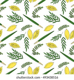 Sukkot seamless pattern background. Etrog, lulav hadas and arava. Vector illustration. Isolated on white background.