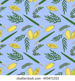 Sukkot seamless pattern background with palm branch, willow and myrtle leaves, yellow etrog. Vector illustration.