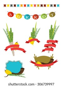 sukot collection -  four symbols of Jewish holiday Sukkot with sukkah decorations