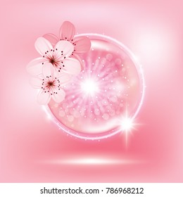 Sukura , cherry blossom collagen vitamin skin care cream , serum banner vector illustration